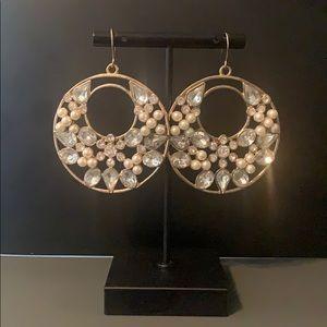 Elegant Gold Crystal Pearl Earrings